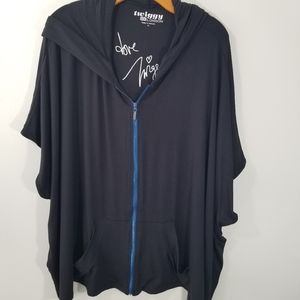 Ziggy London XL black poncho hoodie full zip